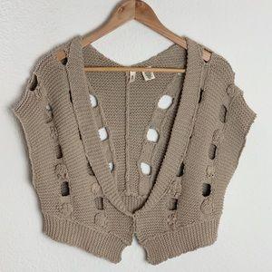 Anthropologie | Moth Tan Knit Sweater Vest/Shrug